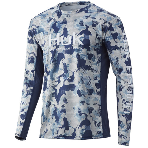HUK ICON X KC REFRACTION CAMO LONG SLEEVE- BLUEFIN- Front