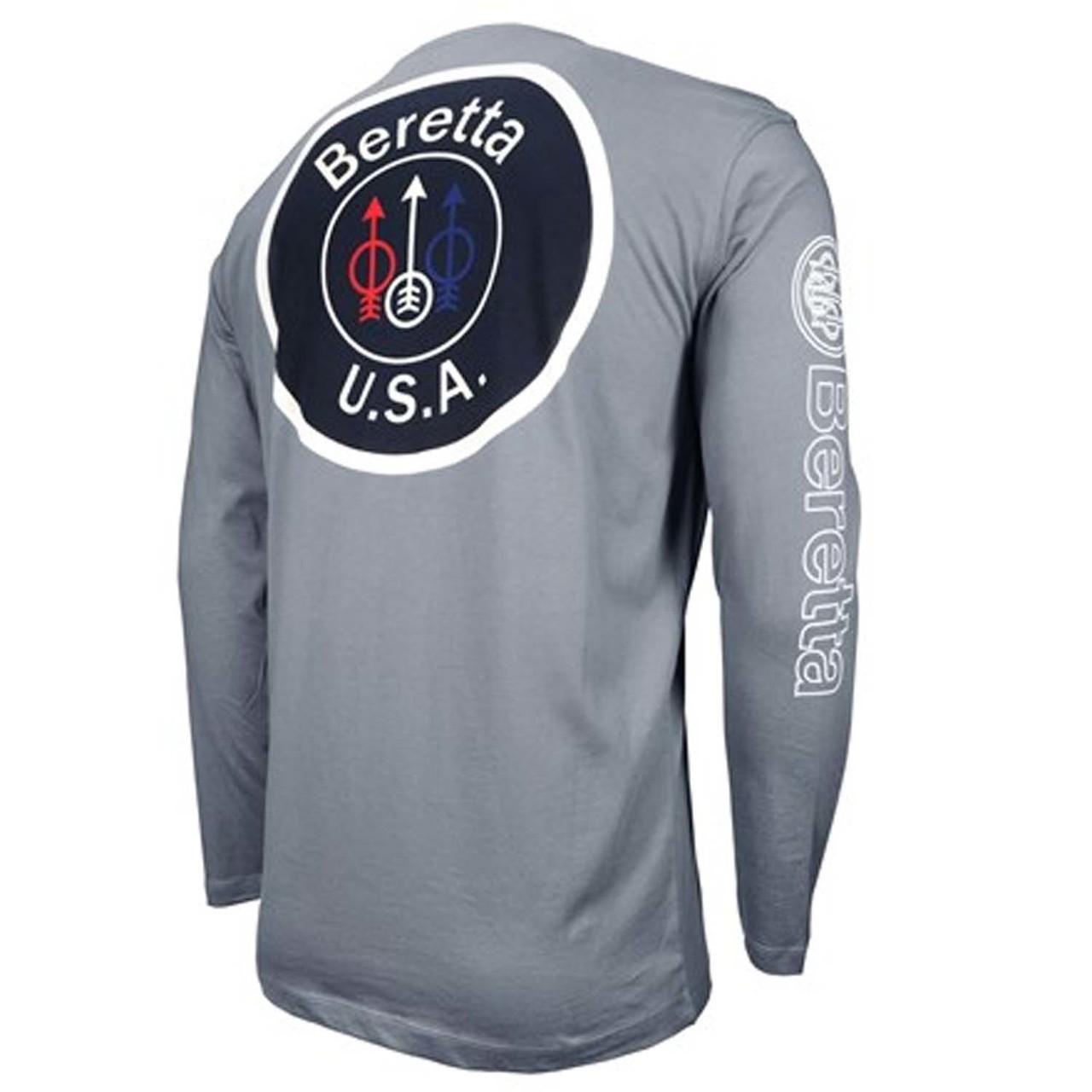 9e91b303c Beretta USA Logo Long Sleeve T-Shirt-Gray - NICASHOOTING. COM