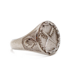 Lox 1917 Signet Ring Men's Jewelry WWI Trench Knife American Doughboy In Flanders Fields Poppies