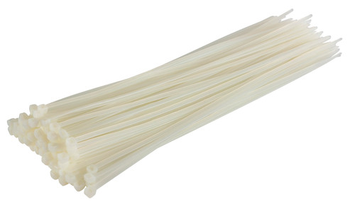 White / Natural Nylon Cable Ties (Pack of 100)