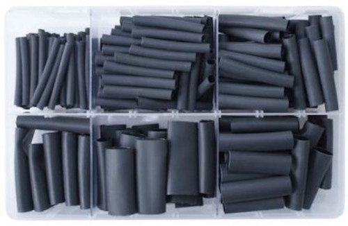 Assorted Black 2:1 Heat Shrink Tubing - 360 Piece Mixed Kit