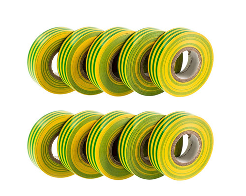 Earth (Green / Yellow) PVC Electrical Insulation Tape (Pack of 10)