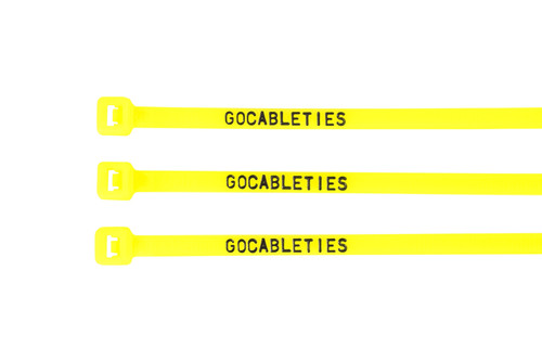 Fluorescent Yellow Printed Cable Ties (Pack of 100)