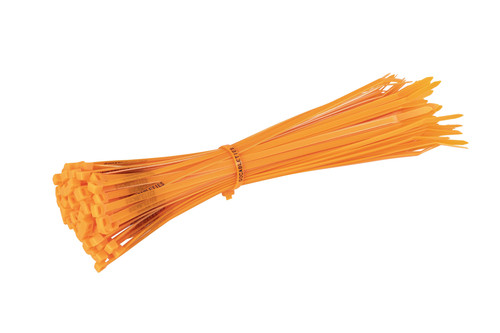 Fluorescent Orange Printed Cable Ties (Pack of 100)