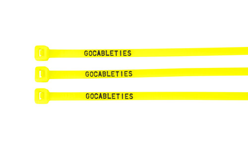 Fluorescent Green Printed Cable Ties (Pack of 100)
