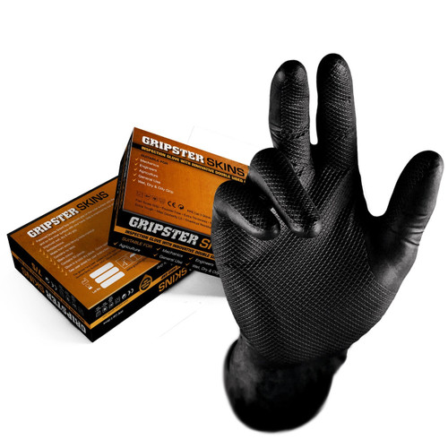 GRIPSTER™ Skins Double Sided Nitrile Gloves - Black (Box of 50)