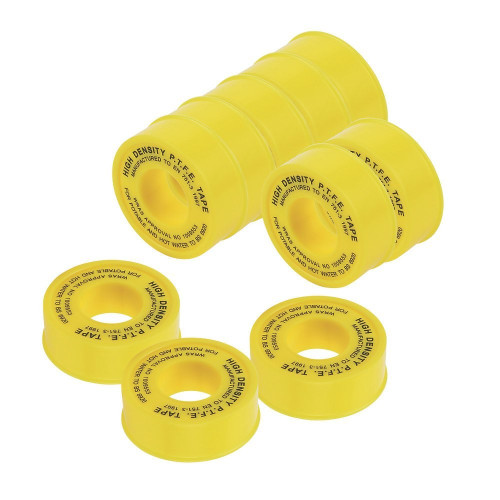 Pack of 10 PTFE Tape for Gas fittings, 12mm x 5m Gas Pipe Plumbing BS21 Thread Sealant