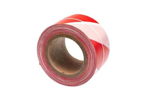 """Red / White Warning Barrier Tape - Non Adhesive, 72mm (3"""") x 500m"""