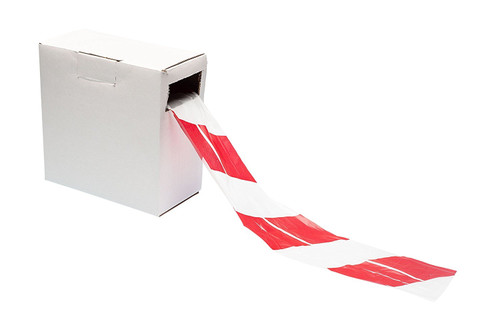Red / White Warning Barrier Tape - Non Adhesive
