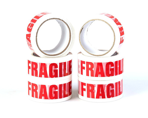 Pack of 6 Fragile Packing Tape, 48mm x 66m
