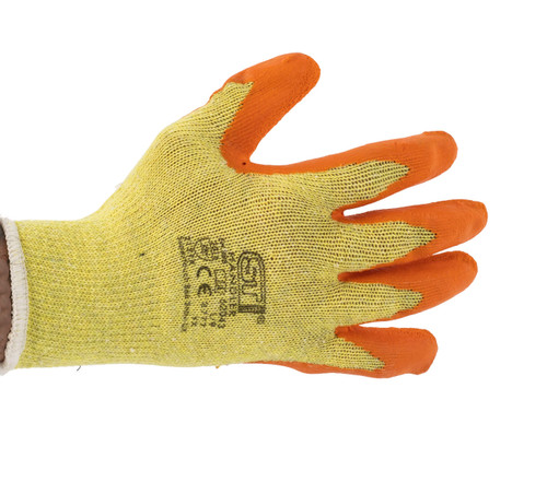 Non-Slip Elasticated Latex Dipped Cotton Gloves (5 Pairs)