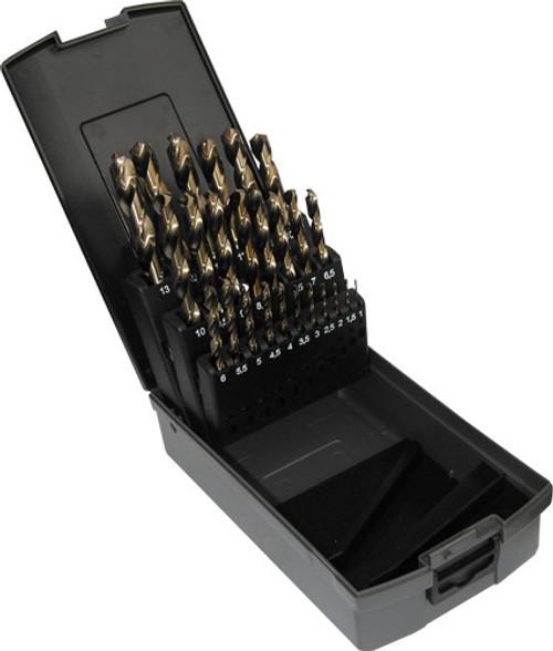 25 Piece HSS Jobber Drill Bit Set, Cobalt (1.0mm - 13.0mm)