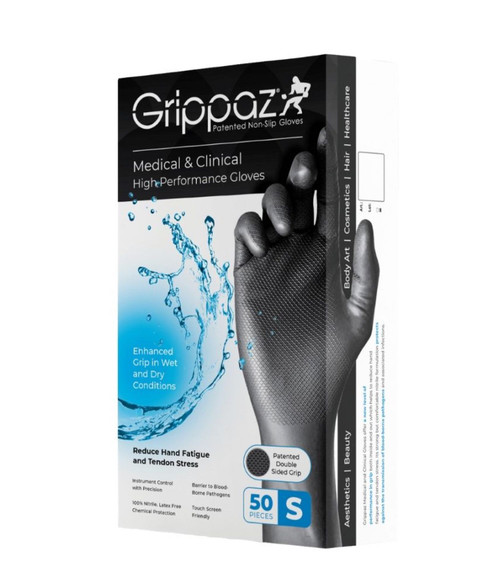 Black Grippaz™ Patented Non-Slip Gloves - Medical & Clinical High-Performance Gloves