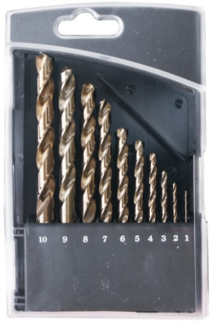 10 Piece Cobalt Jobber Drill Bit Set (1mm - 10mm)