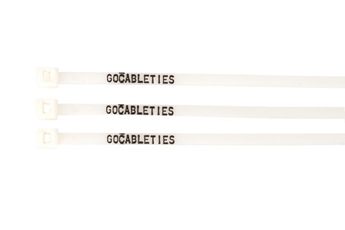 Printed White Extended Tooth Releasable Cable Ties (Pack of 100)