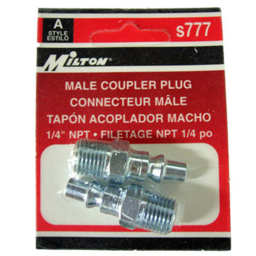 Packaged 2 Pc. Milton A-Style Male Coupler Plugs