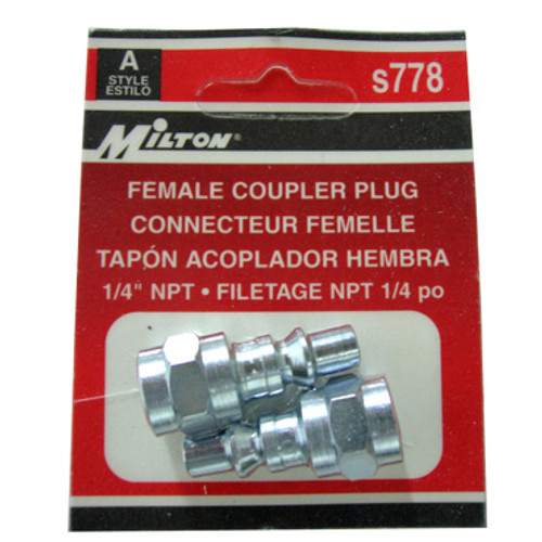 Packaged 2 Pc. Milton A-Style Female Coupler Plugs