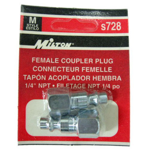 Packaged 2 Pc. Milton M-Style Female Coupler Plugs