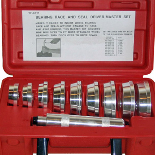 View of open red storage case with Bearing Race and Seal Driver Set inside