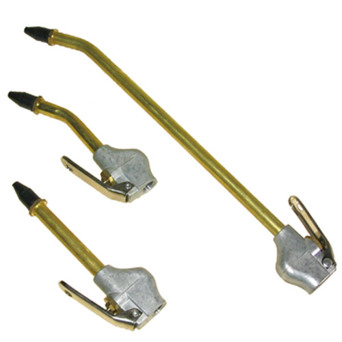 "Shown here are the 6"" Brass Blow Guns with straight or bent end and the 12"" Brass Blow Gun"