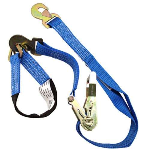 "One blue 2""x7' Heavy Duty Ratchet Tie Down with locking hooks and one 2' Axle Strap"