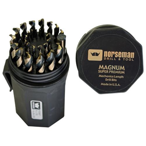 Top, open case view of Norseman Magnum Mechanics Length Drill Bit Set