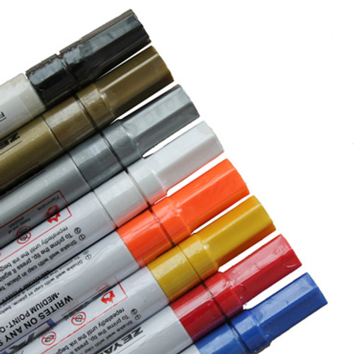 Paint Markers in eight colors: Black, Gold, Silver, White, Neon Orange, , Yellow, Red and Royal Blue