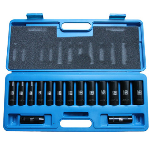 View of Open Blue Carrying Case with included Metric Non-Skip Impact Socket Set.