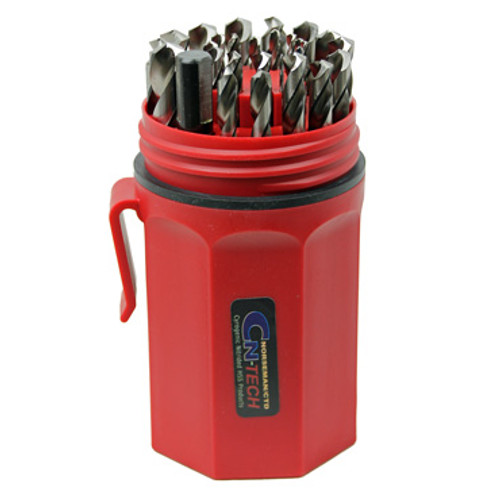 View of open Cryogenic Nitride Drill Bit Set by NORSEMAN/CTD organized in red case