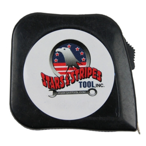 Front View of Stars and Stripes Tool 10' Stagger Tape. Color: Black