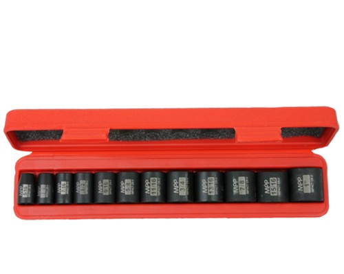 "Image of 3/8"" Drive SAE Shallow Impact Socket set in opened red carrying case"