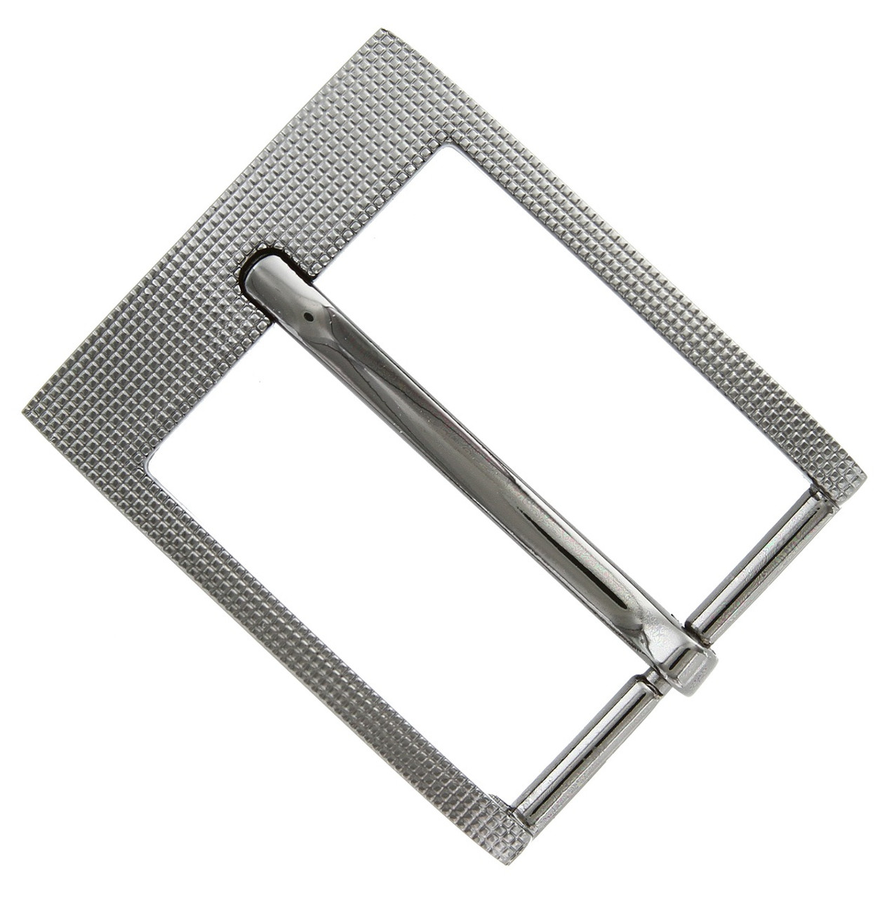 Square Edge Checkered Engraved Polished Replacement Belt Buckle Z35268