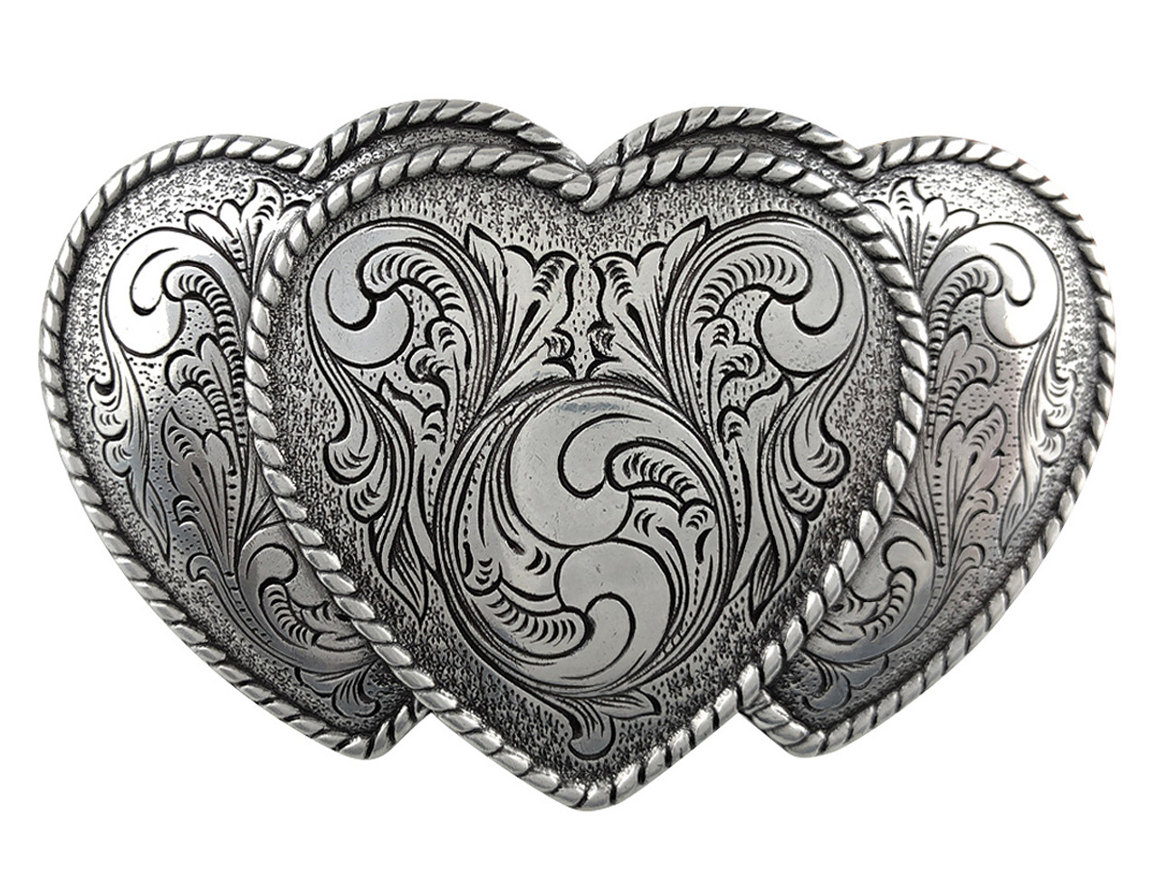 WESTERN FLAIR H//MADE ENGRAVED SILVER GOLD RODEO COWBOY BELT BUCKLE HEART w HORSE