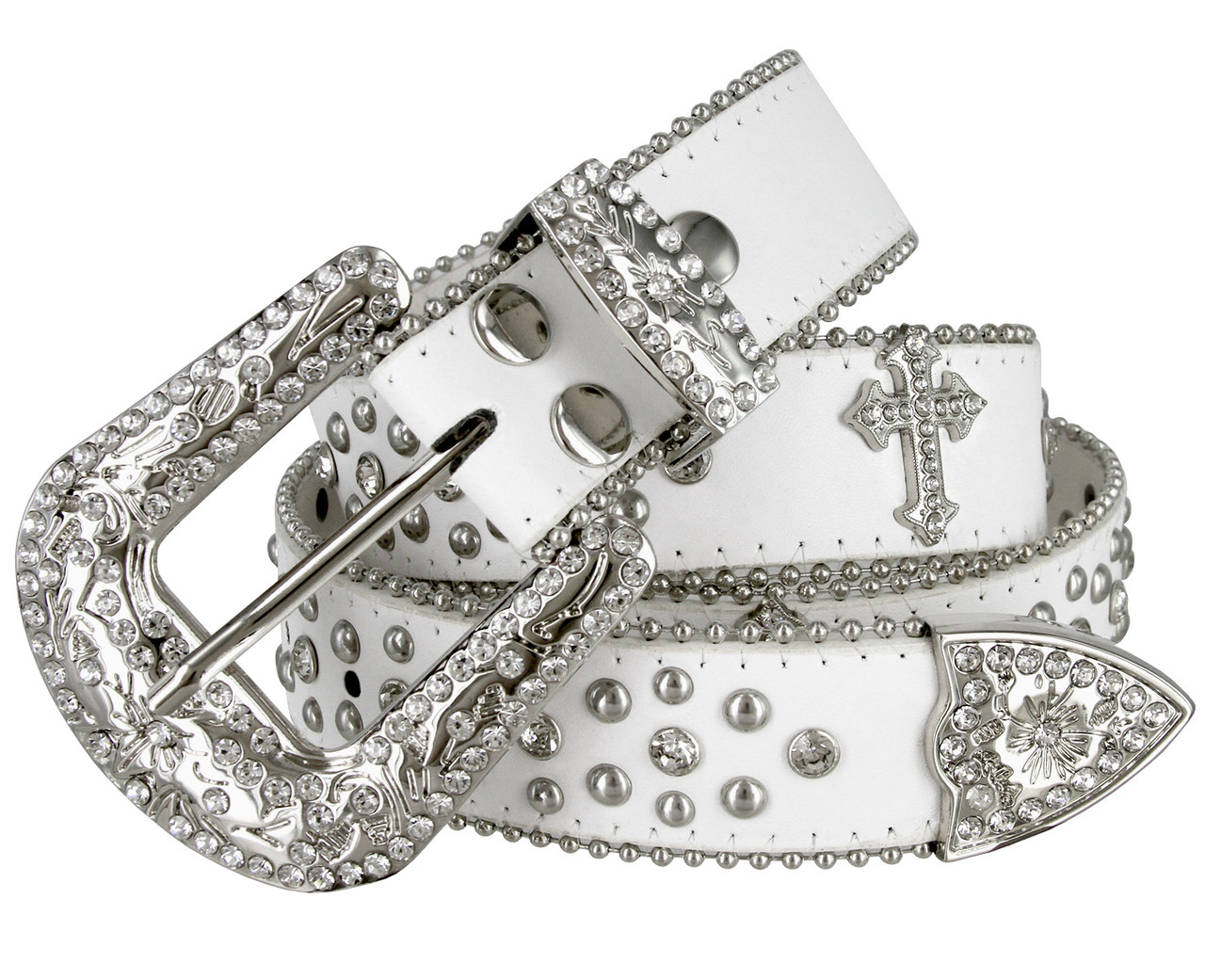 NEW LEATHER LADIES RIDING  BELT WITH CRYSTAL BEAUTIFUL BUCKLE FASHIONABLE