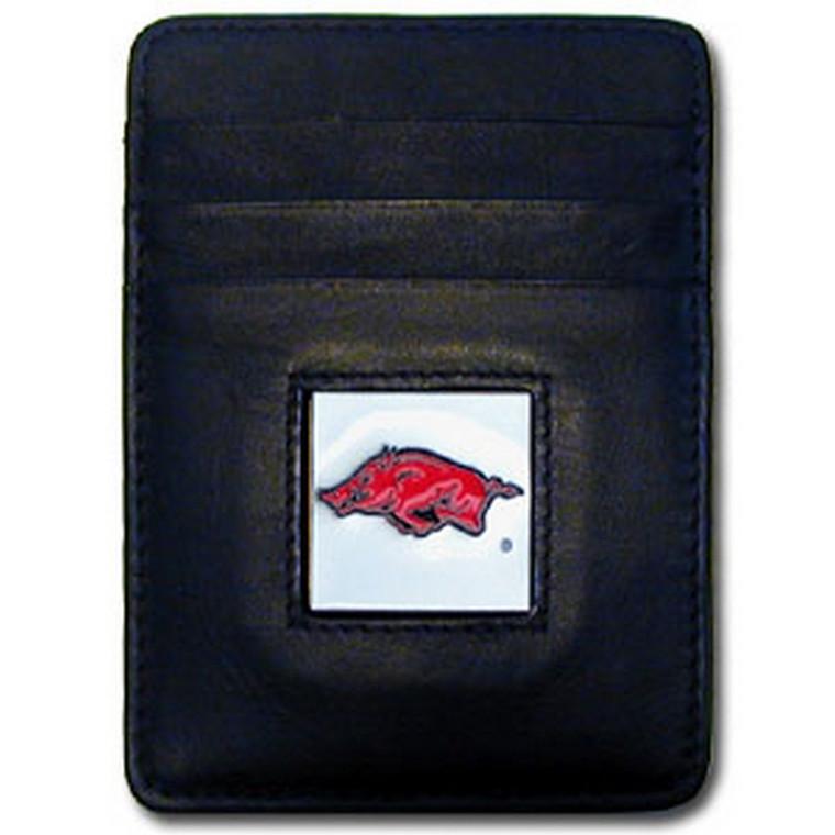 Arkansas Razorbacks Leather Money Clip Card Holder Wallet NCCA College Sports CCH12