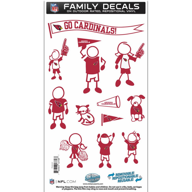 Arizona Cardinals Medium Family Decal Stickers FFMD035