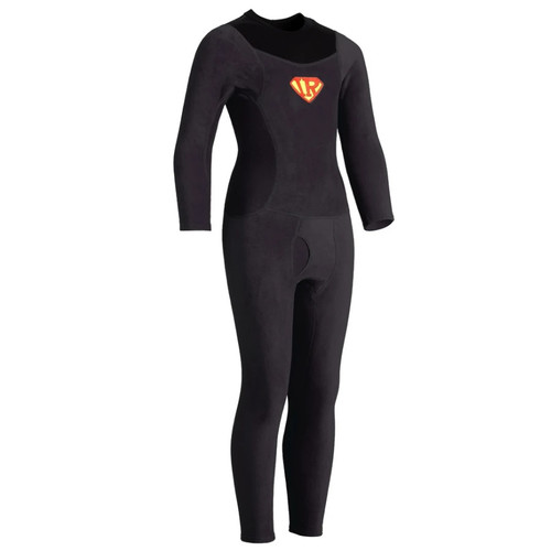 Kids Thick Skin Union Suit - Black - Front