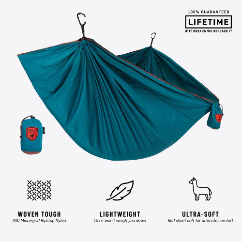 Trunktech Single Hammock - Deep Teal/Maroon - MainImage