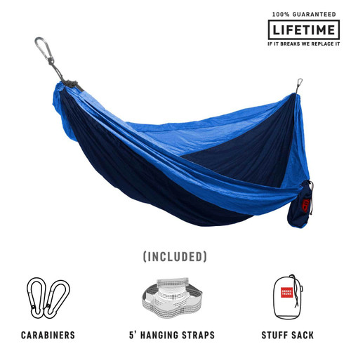 Double Deluxe Parachute Nylon Hammock - Navy/Light Blue - MainImage