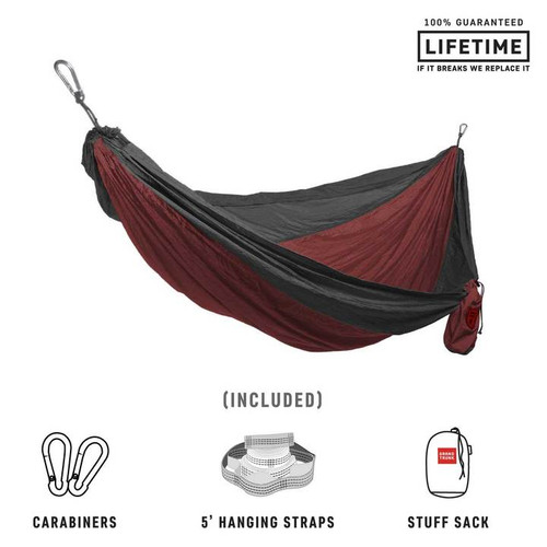 Double Deluxe Parachute Nylon Hammock - Crimson/Charcoal - MainImage