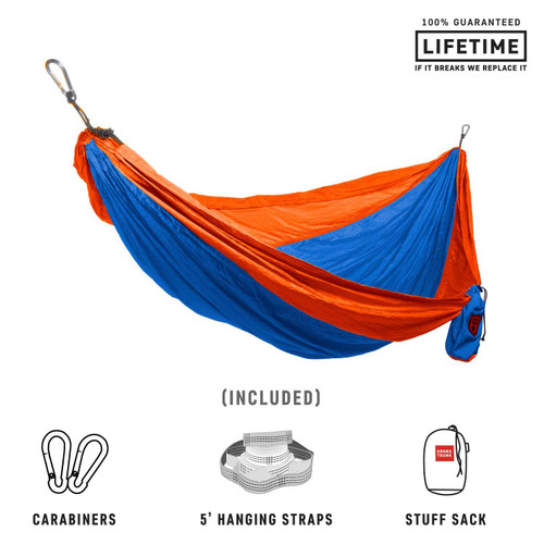 Double Deluxe Parachute Nylon Hammock - Lt.Blue/Orange - MainImage
