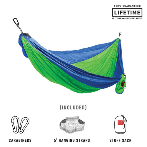 Double Deluxe Parachute Nylon Hammock - Blue/Green - MainImage