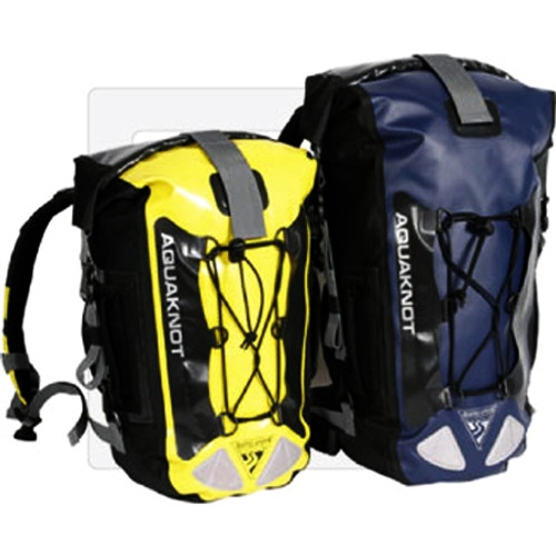 AquaKnot Dry Bag Backpack Yellow and Navy