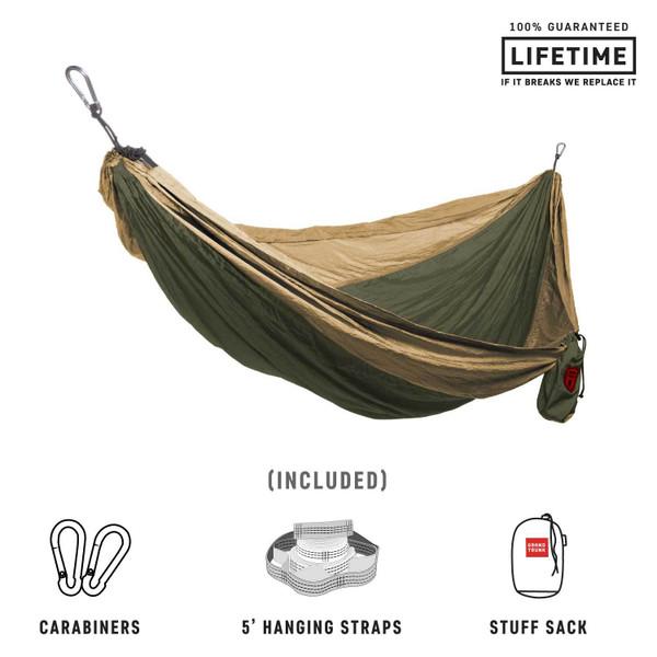 Double Deluxe Parachute Nylon Hammock  - Olive/Khahi - MainImage
