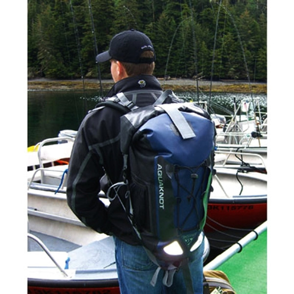 AquaKnot Dry Bag Backpack Navy In Use