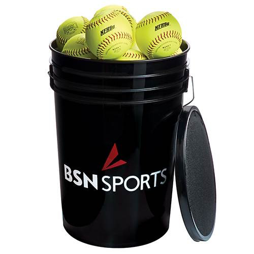 "Bucket w/ 12"" Practice Softballs"
