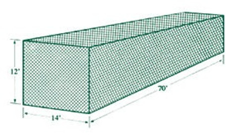 Jugs Batting Cage Netting #1 (70'L x 14'W x 12'H) 119 lb Breaking Strength