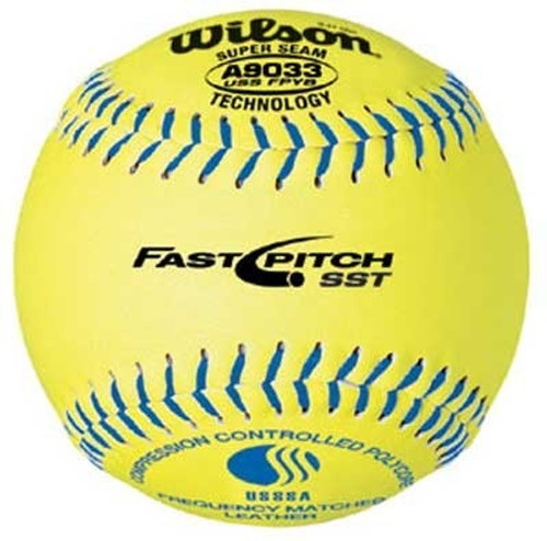 "Wilson A9033BUSSFPYB 12""  .47 COR USSSA Fastpitch Softballs"