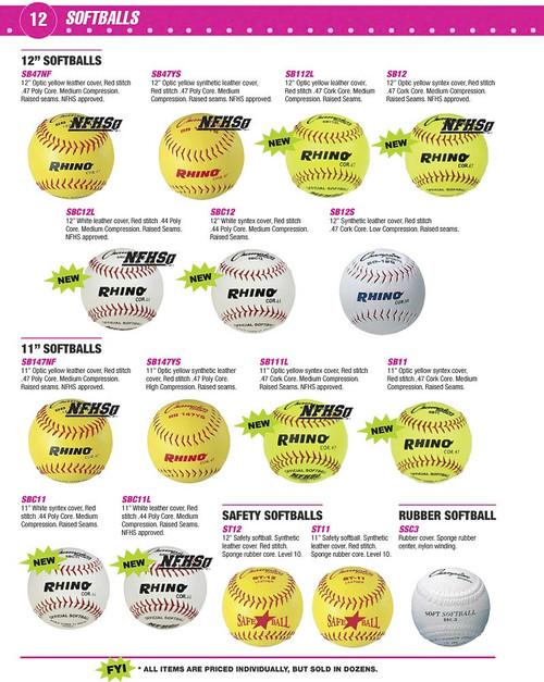 """Rhino SB112L Optic Yellow 12"""" Softballs"""
