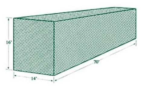 Jugs Batting Cage Netting #5 (70'L x 14'W x 16'H)  191 lb Breaking Strength